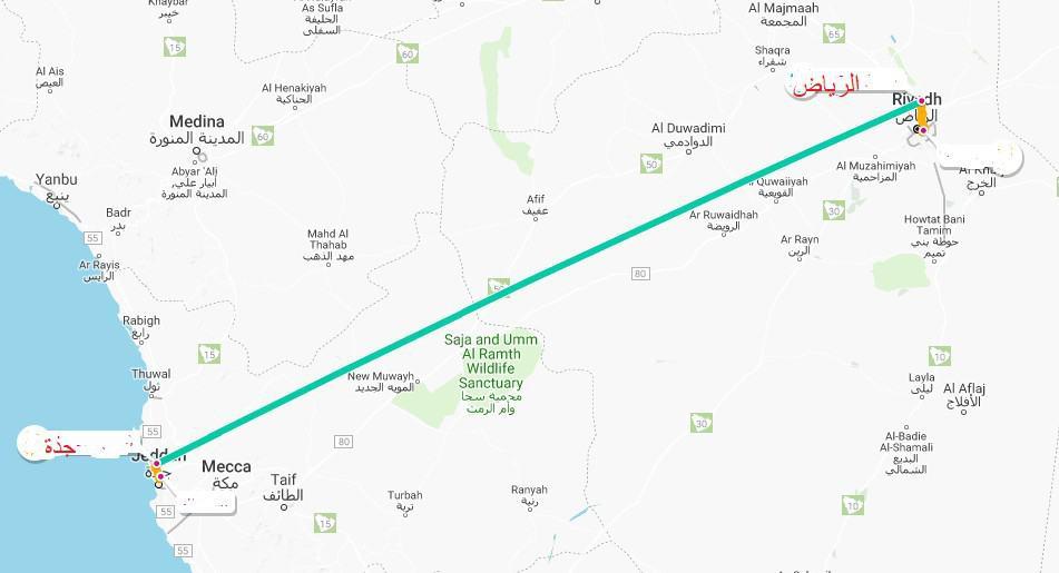 خريطة الرياض وجدة