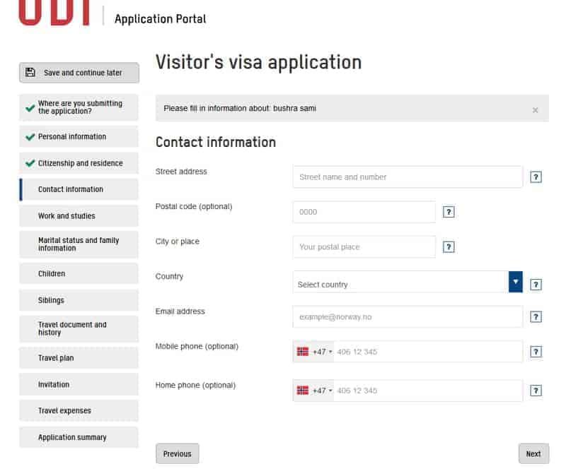 صفحة معلومات الاتصال Contact information